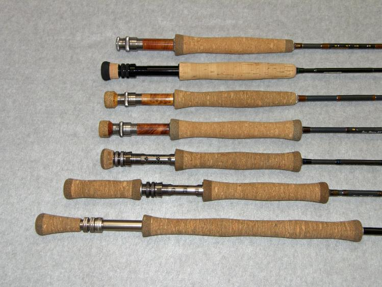Variety of available custom fly rod grip styles and materials